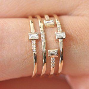 NEW 18K Yellow Gold Diamond Multi Band Ring